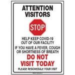 ATTENTION VISITORS w/Pictogram Sign 14'' H x 10'' W Plastic