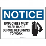 NOTICE Employees Must Wash Hands w/Pictogram Sign 10'' H x 14'' W Plastic