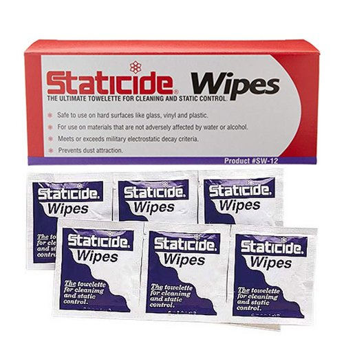 Anti-Static Wipes 5'' x 8'', Case of 12 Boxes, 24 Individual Wipes/Box